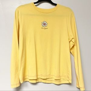 Life is good yellow daisy graphic long sleeve top